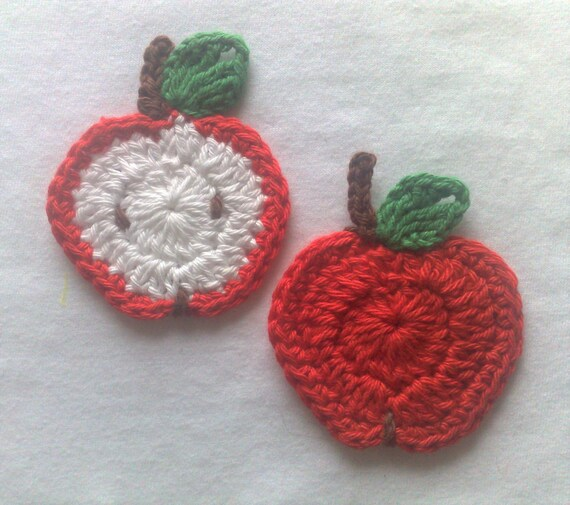 Apple half and apple crocheted red applique, patch for children's clothing bags and hats crochet image