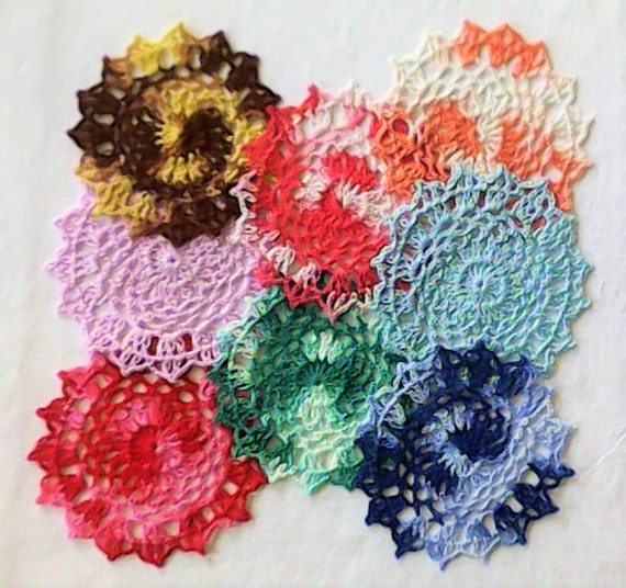 "Crochet Cunches 5 ""small Covers 8 piece set handmade Lace lid crochet Crochet coaster"