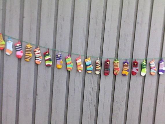 Crochet Advent calendar with 24 socks to fill, pre-Christmas, Advent decoration, Advent season