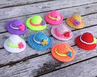 1 piece miniature hat with embellishment, crochet mini hat, handmade hats, dollhouse miniature, nursery embellishments