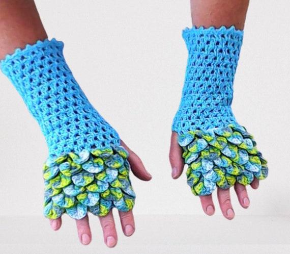 Dragon scale gloves, fingerless gloves, crocodile gloves, crochet gloves, accessories, gift for her, birthday gift