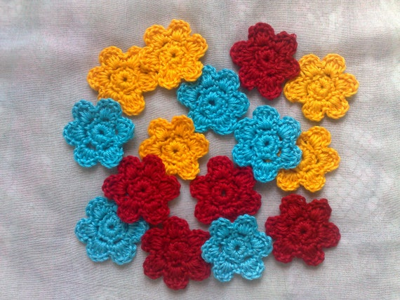 Decorate 15 Crochet flowers for Embellishments, Scrapbooking and Table Cards