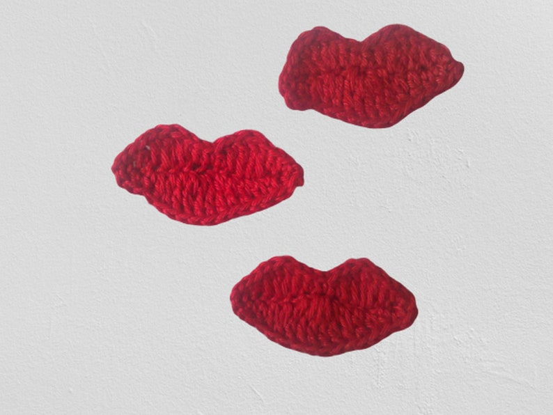Red lips crocheted 3 pieces crocheted mouth crochet applique image 1