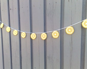Lemon garland crochet,lemon slice Bunting summer party decoration lemonade stand accessories Home Décor Kitchen Fruit Decoration Children's room