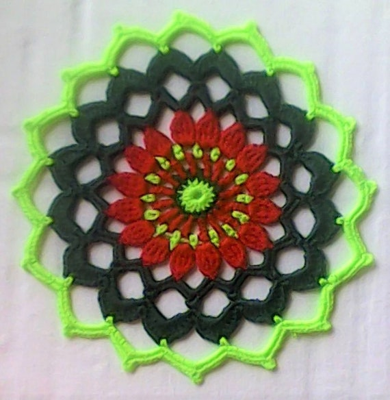 Mandala Covers in red, dark green and light green