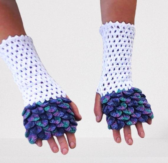 Dragon gloves crochet long wrist gauntlets long crochet gloves women gift dragon scales crocodile gloves