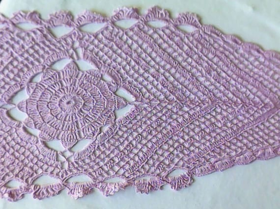 Crooks crochet covers in delicate purple cotton crochet in pastel colour