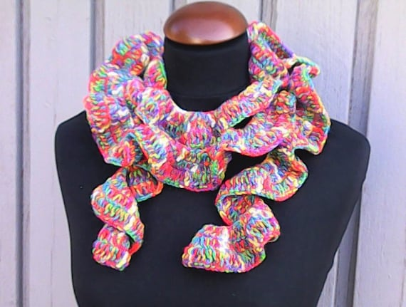 "Very long scarf 85"", ruffle crochet scarf gradient yarn very colorful accesoiire for the clothes"