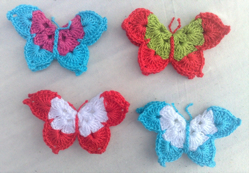 4 butterfly patch crocheted in colorful mix and image 0