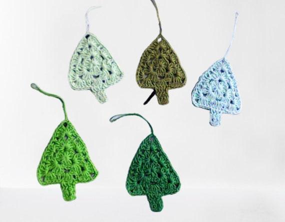 Christmas tree 5 pieces, crochet trees for Christmas decoration, mini tree ornaments, xmas decoration