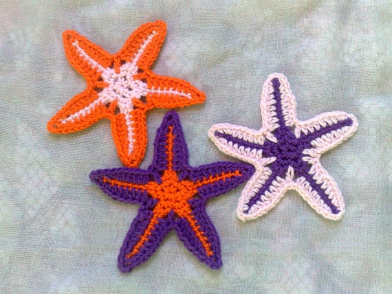 Crocheted Decoration Starfish Applications for Wedding on the Beach