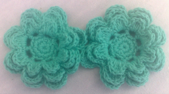 Crocheted Flower Set of 2 applications 3-inch ornament in green