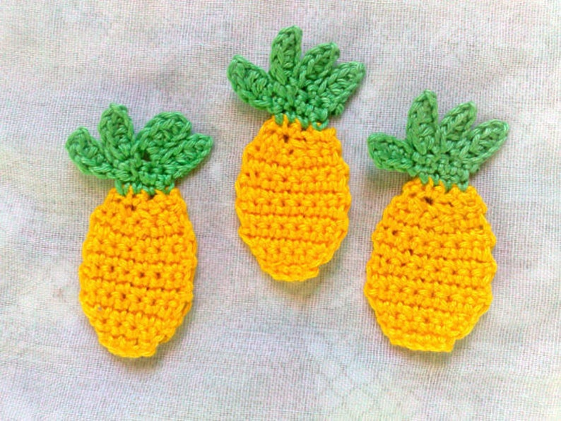 3 Pineapple crocheted Application lemon yellow wrong Food image 0