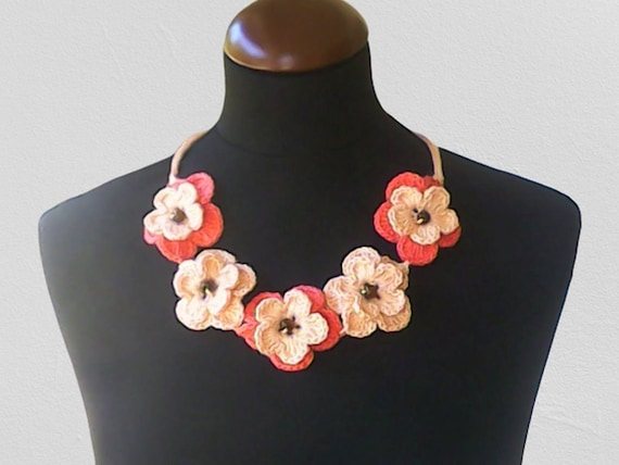 Crochet necklace, crochet neck accessory, beige apricot color, 100% cotton