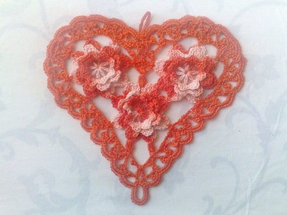 Thanksgiving Orange's Crocheted Heart Cover with 3D Crochet Flowers