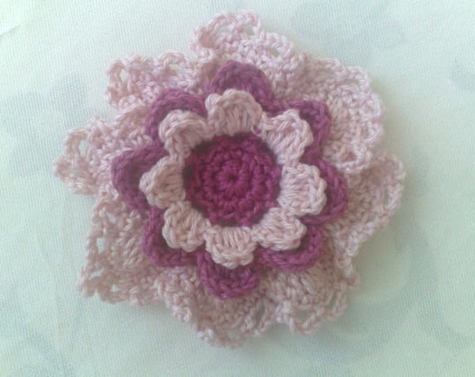 Featured listing image: Motive Flower crochet 3.5 inches in light pink and dark pink for bridesmaids dress