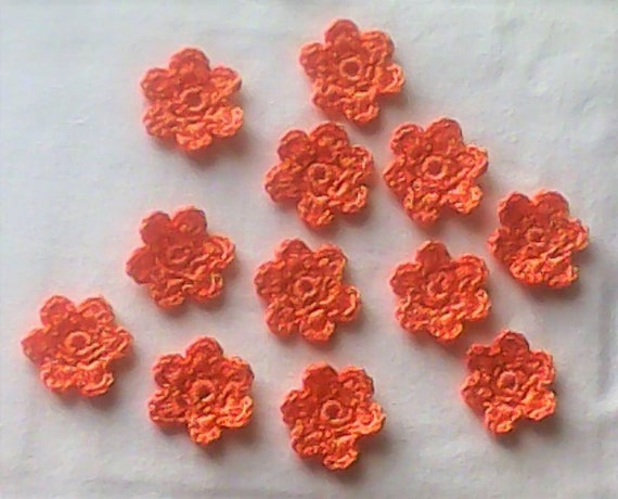 Orange Crochet Flowers, 12 Pieces crocheted Flowers Appliqués