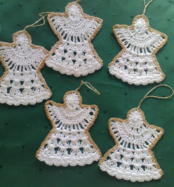 Set of 5 crocheted Christmas angels in white with border in gold, crochet Christmas Christmas tree decorations, crochet Christmas decorations