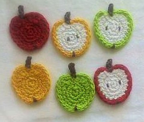 6 small Crocheted apples, crochet Apple, crochet fruit Appliqués, Scrapbooking, Crochet apple, crochet Apple, craft, apple Slices