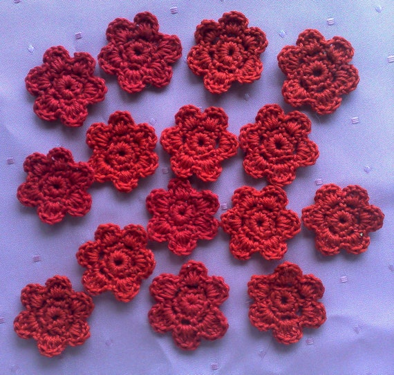 Set of 15 crocheted flower patches for crafts and scrapbooking