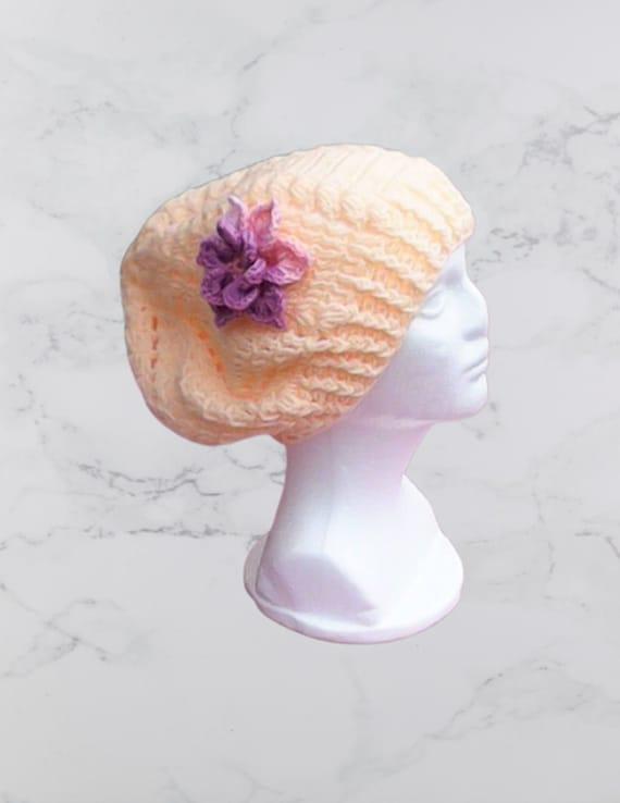 Apricot Slouch Hat with Purple Crochet Flower Cap with Flower Apricot Slouch Hat Made of apricot Beanie Slouchy Beret with Flower Crochet Women's Hat