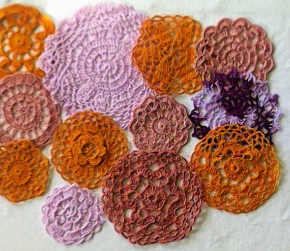Browns 12 Pieces Crochet Covers for Scrapbooking, Sewing and Dream Catchers 7.5 to 17 cm