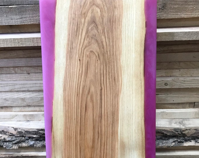 Ash Charcuterie Board with Pink Epoxy
