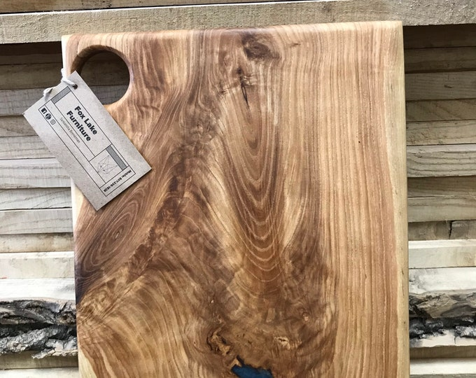 Ash Charcuterie Board with Indigo Epoxy
