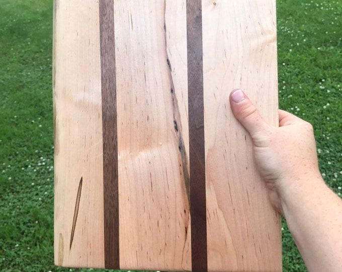 Live Edge Maple and Walnut Cutting Board | Maple and Walnut Serving Board | Cheese Board | Charcuterie Board