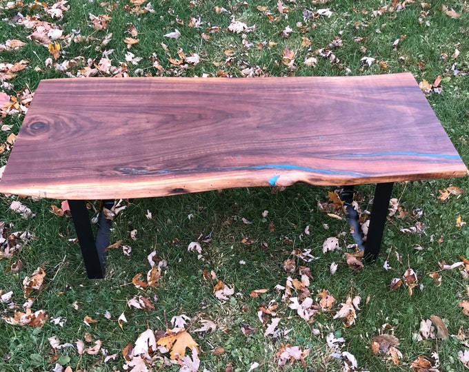 Live Edge Black Walnut and Bora Bora Blue Epoxy Bench