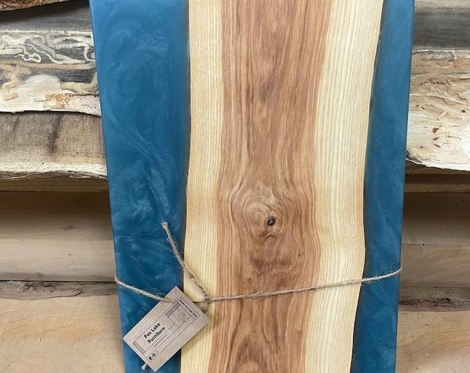 Ash Charcuterie Board with Blue Epoxy