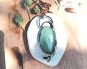 Gaia - handmade electroformed copper amulet with Aventurine, angel aura and rabbit's bone