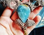 Sky Nimpf-Handmade macrame necklace with Lemurian Aquatine Calcite gemstone