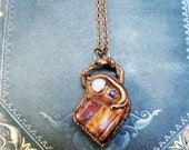50% SALE from 43,00 for 21,50 - Pele - handmade electroformed copper amulet with tiger eye, amethyst and moonstone