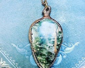 50% SALE from 45,00 for 22,50 - Dali - handmade electroformed copper amulet with jadeite gemstone