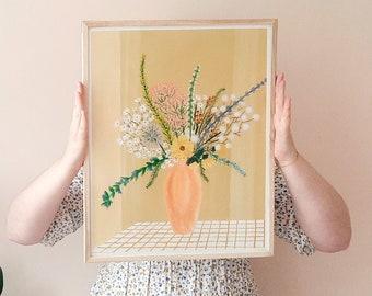 Wildflower Vase 01 | Fine Art Giclee Art Print | Botanical Print- Floral Abstract Print- Gingham Art - Matisse Print - Wildflower Vase Print