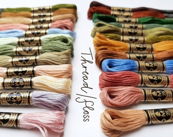 DMC Embroidery Thread Floss Bundle | Spring and Autumn Colourways | Assorted Embroidery Crossstitch Thread Floss Skein | DMC Stranded Cotton
