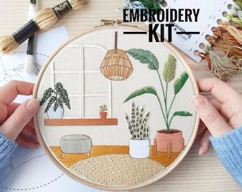 Urban Jungle | Advanced Embroidery Kit | DIY Kit | Modern Embroidery, Embroidery Plants, Embroidery Kit, Craft Kit, Sewing Gift, Needlecraft