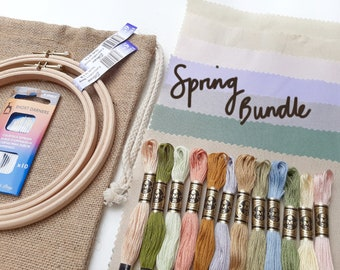 Spring Bundle | Fabric &Thread Skeins, Elbesee Hoop, DMC Floss, Needles, Embroidery Hoop, Embroidery Thread, Embroidery Fabric ,Plain Cotton