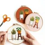 Beginner Embroidery Kit | Pilea & Snake Plant | DIY Embroidery Kit with Pattern | Embroidery Pattern, Modern Embroidery Kit