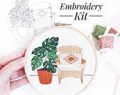 Monstera and Wicker Chair Modern Embroidery, Embroidery Kit Modern, Embroidery Plants, Embroidery Kit Hoop, Embroidery Kit,
