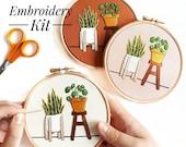 Beginner Embroidery Kit | Pilea & Snake Plant | DIY Embroidery Kit with Pattern | Embroidery Pattern, Modern Embroidery Kit, Embroidery Hoop