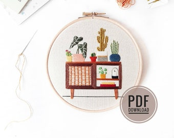 Mid Century Botanical Sideboard   PDF Download Embroidered Plants, Credenza, Embroidery Pattern, Embroidery Pattern Download, Embroidery