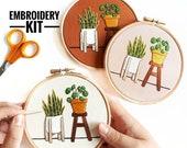 Beginner Embroidery Kit | Pilea & Snake Plant | DIY Kit | Embroidery Pattern, Modern Embroidery Kit, Embroidery Hoop, Sewing Gift, Craft Kit