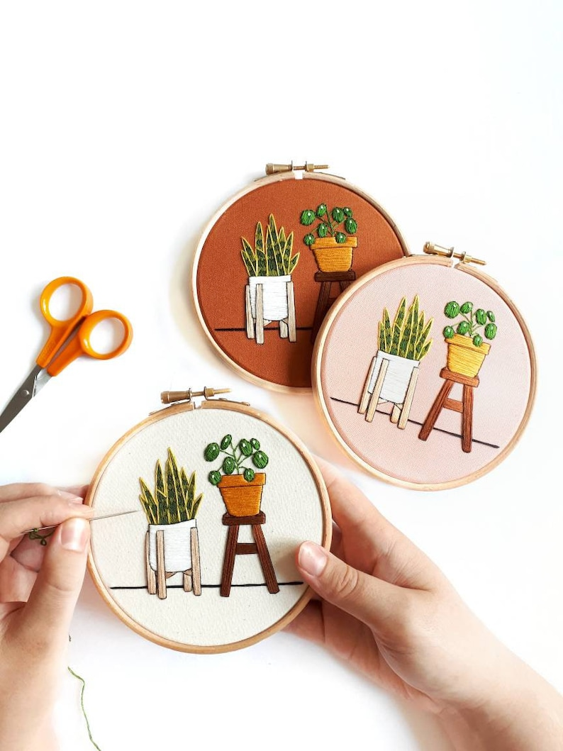Beginner Embroidery Kit  Pilea & Snake Plant  DIY Embroidery image 0