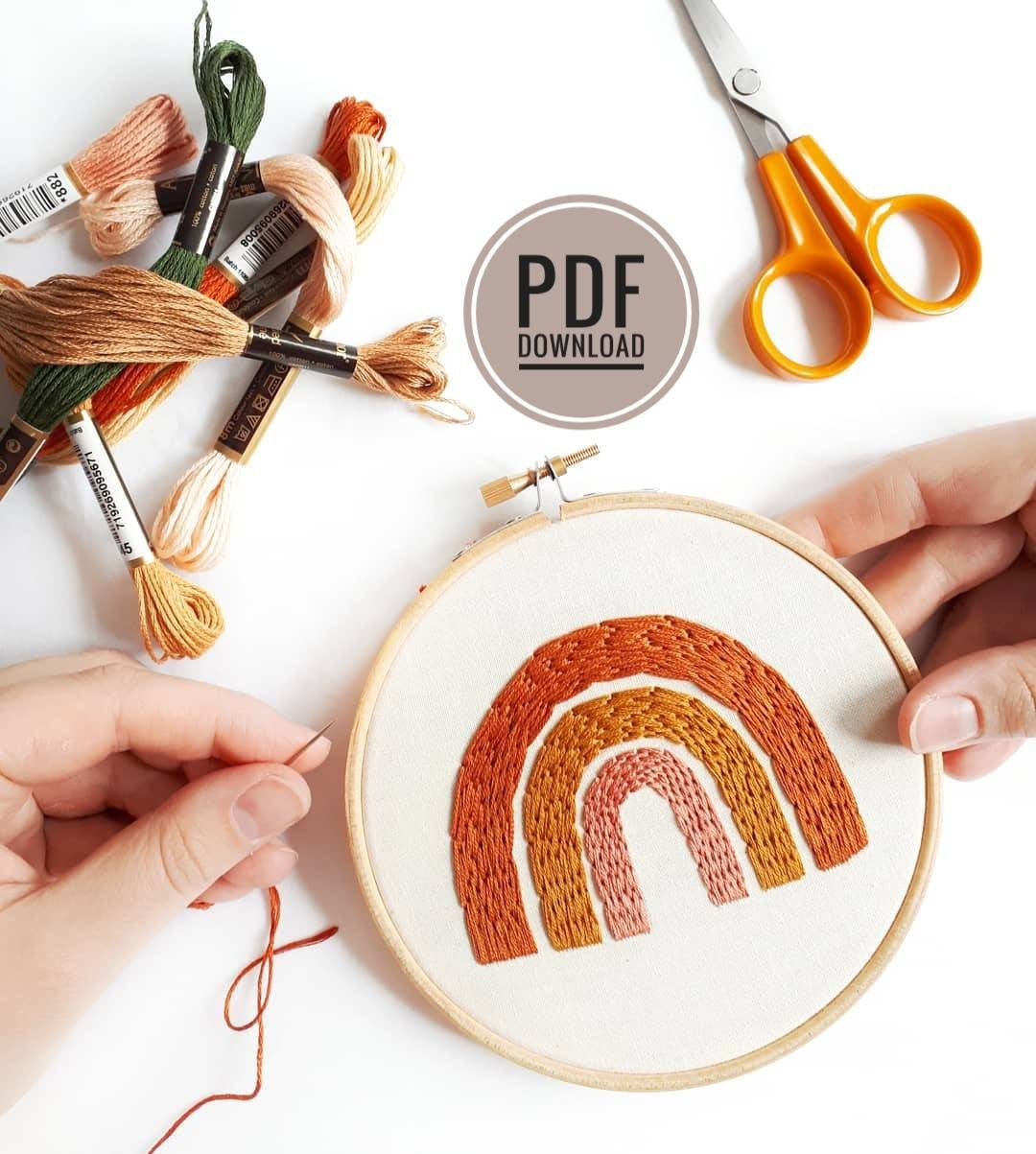 Modern Embroidery Embroidery Pattern Download Beginner Embroidery PDF Embroidery Pattern Beginner Rainbow Embroidery Pattern PDF