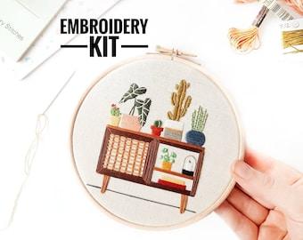 Mid Century Botanical Sideboard | Modern Embroidery, Embroidery Plants, Embroidery Kit, Craft Kit, Sewing Gift, Needlecraft, Mid Century