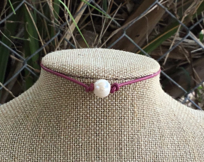 Leather Pearl Choker, Hot Pink Pearl Necklace, Boho necklace, June Birthstone, Birthday Gift, Affordable Christmas Gift, Boho, Gift Bag