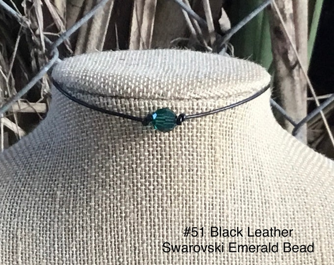 Swarovski Emerald Crystal Choker, May Birthstone, 925 Sterling Silver Lobster Clasp Chain and End Caps, Jewelry Box, Free Shipping