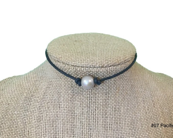 GRAY Pearl Leather Choker  Necklace, Real Pearl Necklace, Gift ,Favorite Sport Colors, Gift Bag